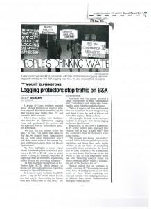 Logging Protestors stop traffic on B&K -coastreporter-Nov-19-2010