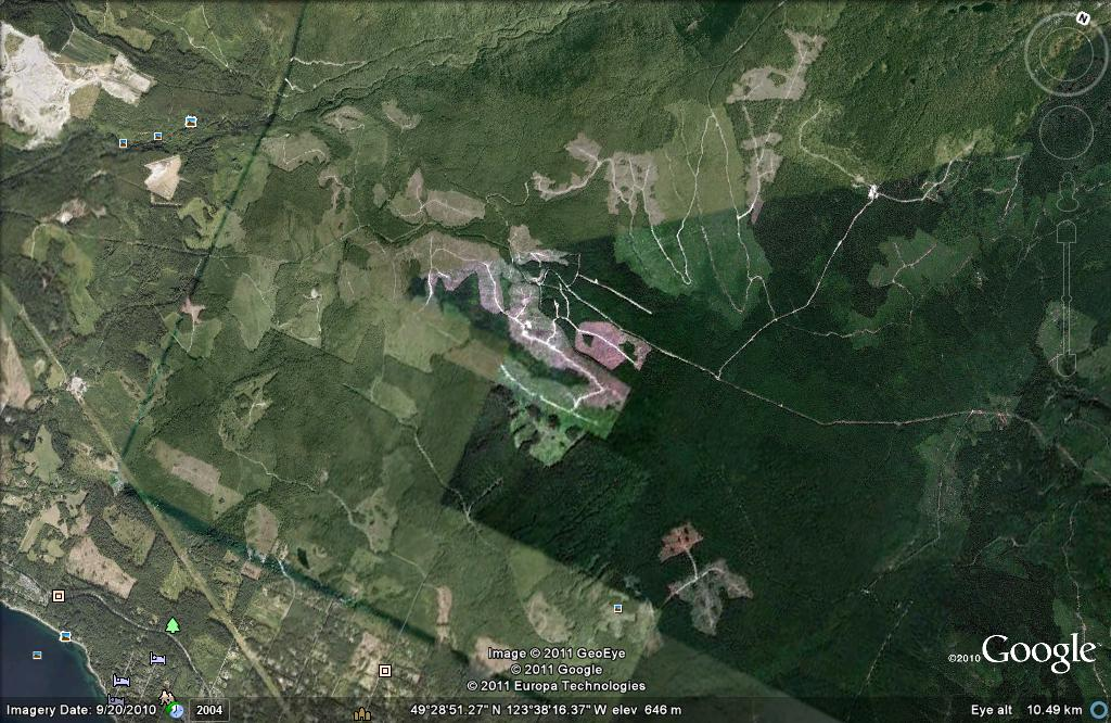 Google Earth - Maps - Mt Elphinstone Area - Elphinstone Logging Focus