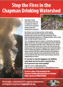 Stop the Fires in the Chapman Watershed