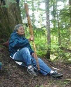 Sechelt-First-Nations-Elder-Barbara-Higgins-Holds-Talking Sticking